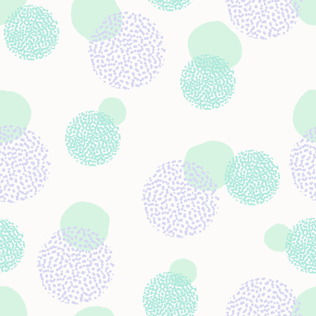 card: Seamless repeating pattern with textured round shapes in pastel pink, mint green and lavender violet on white background. Creative and modern tiling background, poster, textile, greeting card design.