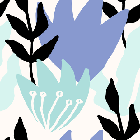 Seamless repeat pattern with leaves in mint green, lavender and black on cream background.