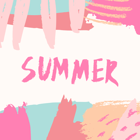 card: Hand drawn brush strokes and floral elements in pink, blue, orange and cream. Hand lettered message Summer in fuchsia pink.