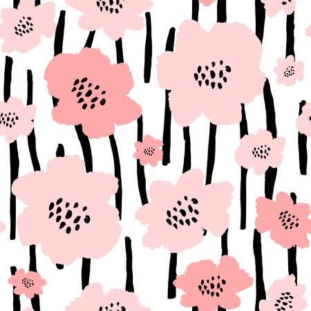 surface: Seamless repeat pattern with flowers in black and pastel pink on white background.