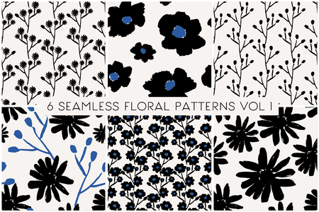 petal: A set of 6 hand painted floral patterns in black and blue on cream background. Illustration
