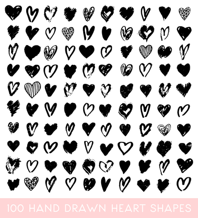 saint: A set of 100 hand drawn heart shapes in black, isolated on white background, perfect for greeting cards, wedding invitations, posters, gift warp, etc. Illustration