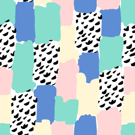 textured backgrounds: Seamless repeat pattern with abstract shapes in pastel pink, blue, green, yellow and black on white background.