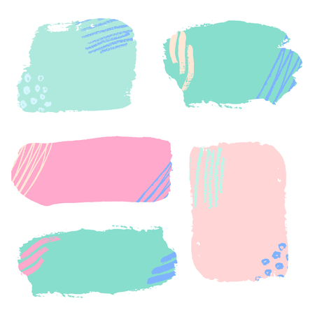 watercolour: A set of colorful brush strokes, isolated vector