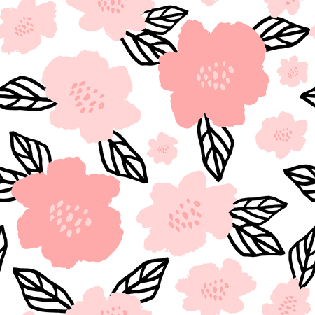 brocha de pintura: Seamless repeat pattern with flowers and leaves in black and pastel pink