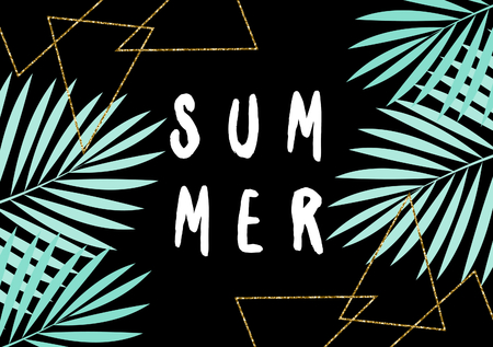 greeting season: Retro typographic summer design with palm leaf silhouettes and gold glitter triangle shapes