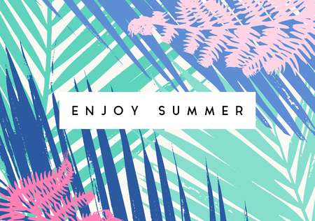 card: Typographic summer design with palm leaf silhouettes in pastel pink, blue and green. Illustration