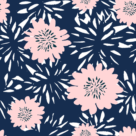 Seamless repeat pattern with flowers in blue and pastel pink. Иллюстрация