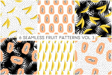banana: A set of six seamless repeat patterns with fruits and palm leaves.