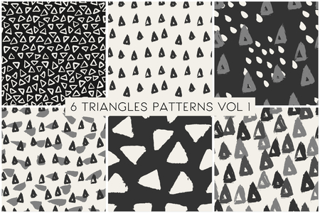pattern: A set of 6 hand painted triangle patterns in gray, black and cream. Illustration