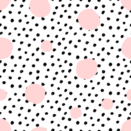 Hand drawn seamless repeat pattern with round shapes in pastel pink and black dots texture.