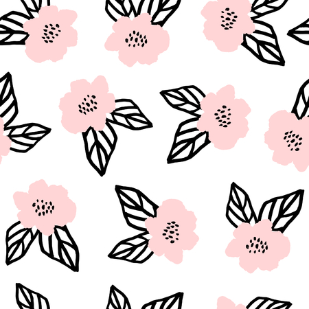 vintage postcard: Seamless repeat pattern with flowers and leaves in black and pastel pink