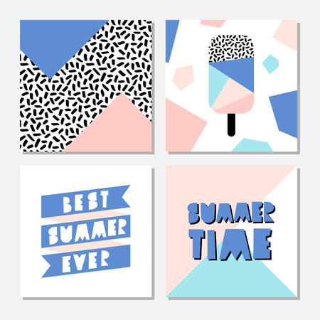 pattern: Retro design summer cards with pastel colored geometric shapes, black and white pattern and cutout letters. Illustration