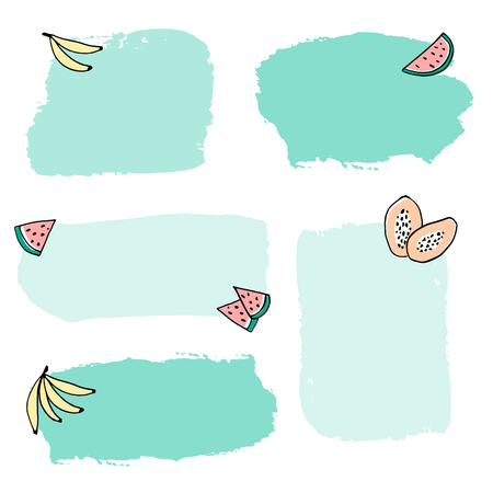 A set of colorful frames decorated with fruits, isolated editable vector