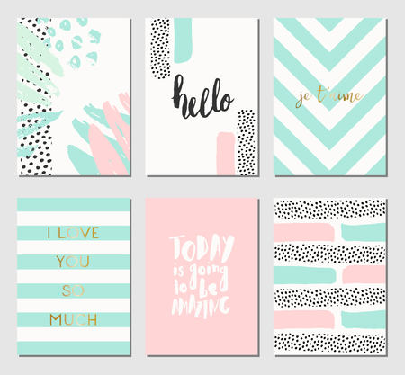 greeting season: A set of abstract design cards in mint green, white and pastel pink. Illustration