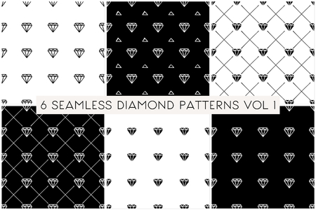 grid pattern: A set of 6 diamond shapes repeat patterns in black and white. Illustration
