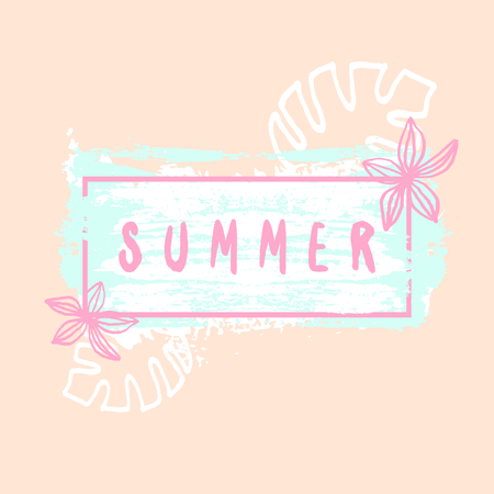 greeting season: Hand drawn typographic summer design with brush strokes and floral elements in pastel colors.
