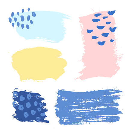 smudge: A set of colorful brush strokes, isolated editable vector. Illustration