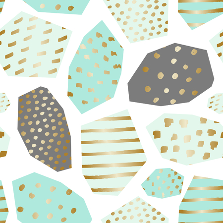 golden: Seamless repeat pattern with textured geometric shapes in mint green, gray, gold and turquoise.