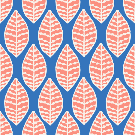 tile: Seamless repeat pattern with leaves in orange and crean on blue background. Modern and original textile, wrapping paper, wall art design. Illustration