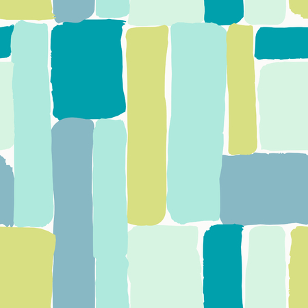 hand print: Seamless repeating pattern with brush strokes in blue, mint, lime green and teal on white background. Creative and modern tiling background, poster, textile, greeting card design.