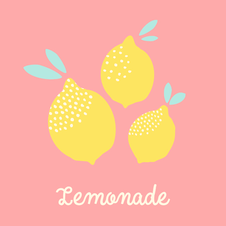 Cute card design with lemons in yellow on pastel pink background and text Lemonade. Fresh and modern wall art, t-shirt, packaging design.