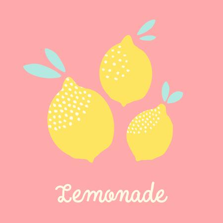 Modèle de carte mignon avec des citrons en jaune sur fond rose pastel et texte limonade. Art mural moderne, t-shirt, design d'emballage. Banque d'images - 83306665