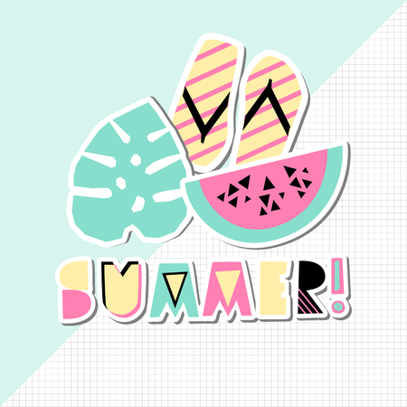 Retro typographic summer design with decorative geometric letters and summer items in pink, green, black and yellow on geometric background. Modern poster, advertising, wall art, t-shirt design.