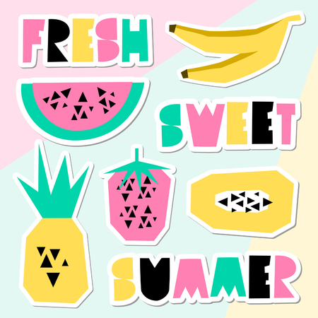 word: A set of retro style geometric summer stickers. Decorative letters and fruits in green, pink and yellow on pastel colored geometric background. Perfect for creating summer themed posters, advertising, wall art, t-shirt designs. Illustration