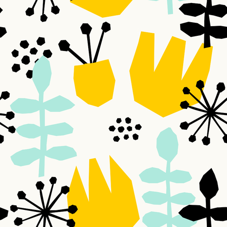 Seamless repeating pattern with geometric floral elements in yellow, black and pastel blue on white background. Illustration