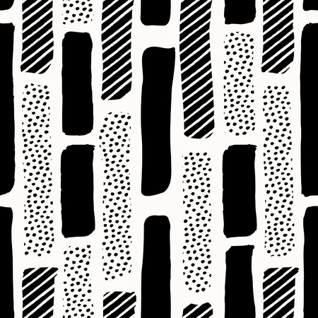 Seamless repeating pattern with vertical textured shapes in black on white background. Creative and modern tiling background, poster, textile, greeting card design.