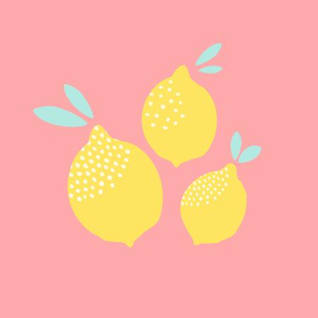 Leuk kaart ontwerp met citroenen in geel op pastel roze achtergrond. Verse en moderne muurkunst, t-shirt, verpakkingsontwerp. Stock Illustratie