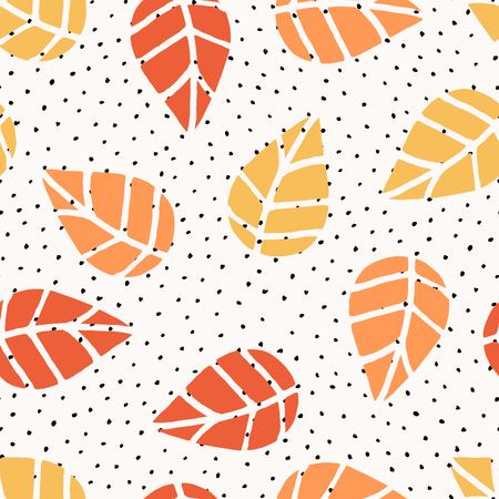 digital background: Seamless repeat pattern with leaves and dots in red, orange and yellow on white background. Nature inspired fabric, gift wrap, greeting card design.