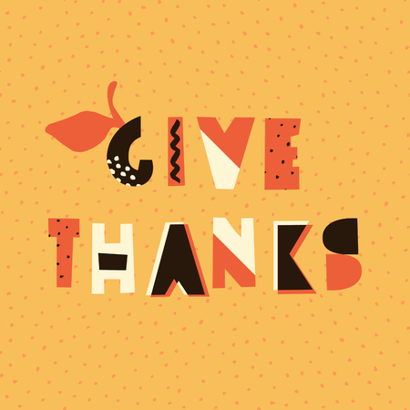 autumn background: Abstract Thanksgiving Day design with colorful geometric letters on textured yellow background. Poster, brochure or greeting card square template with sample text. Illustration