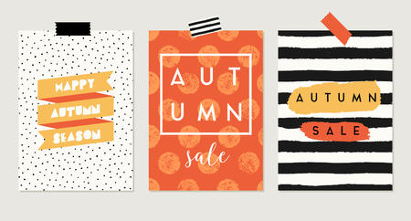 yellow: A set of three abstract autumn designs in yellow, red, brown, white and orange. Poster, brochure or greeting card templates with sample text.