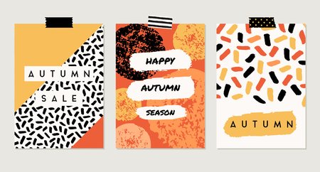 A set of three abstract autumn designs in yellow, red, brown, white and orange. Poster, brochure or greeting card templates with sample text.