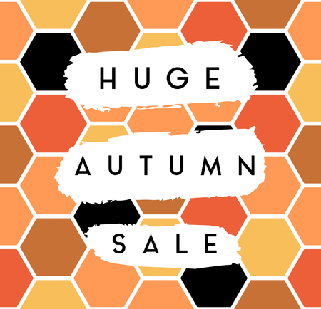 Abstract autumn sale design with text on white brush strokes on colorful hexagon pattern background. Poster, brochure or greeting card square template with sample text.