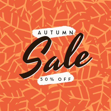 yellow: Abstract autumn sale design with text on orange leaf pattern background. Poster, brochure or greeting card square template with sample text. Illustration