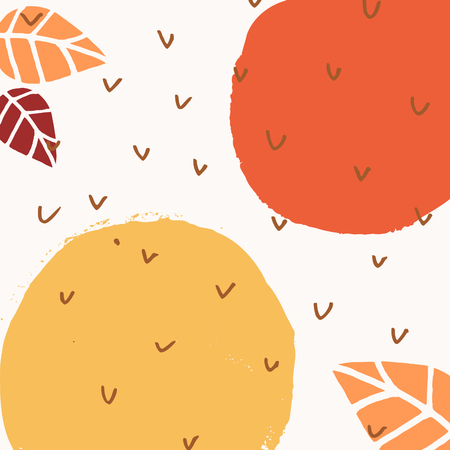 Abstract autumn design with round brush strokes and leaves in yellow, red and orange on white background.