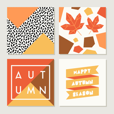 autumn background: A set of four abstract autumn designs in yellow, red, brown, white and orange. Poster, brochure or greeting card square templates with sample text.