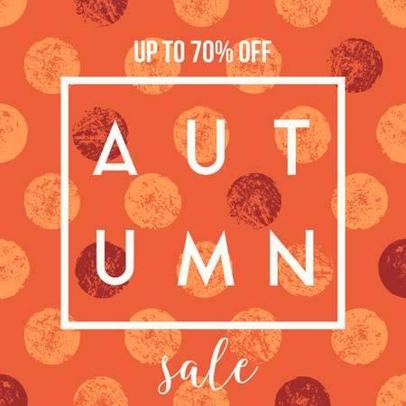 autumn background: Abstract autumn sale design with text on colorful textured dots background. Poster, brochure or greeting card square template with sample text.