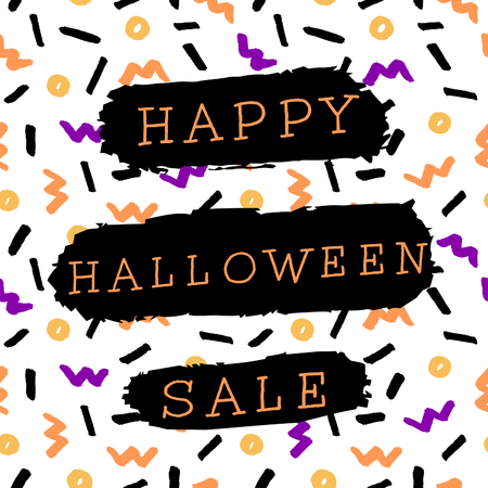 autumn background: Abstract Halloween sale design with text on colorful Memphis style pattern background. Poster, brochure or greeting card square template with sample text.