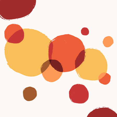 Abstract autumn design with round brush strokes in yellow, red, brown and orange on white background. Illustration