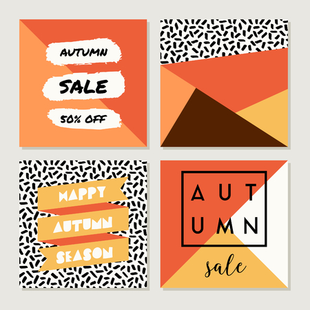 autumn background: A set of four abstract geometric autumn designs in yellow, red, brown, white and orange. Poster, brochure or greeting card square templates with sample text.
