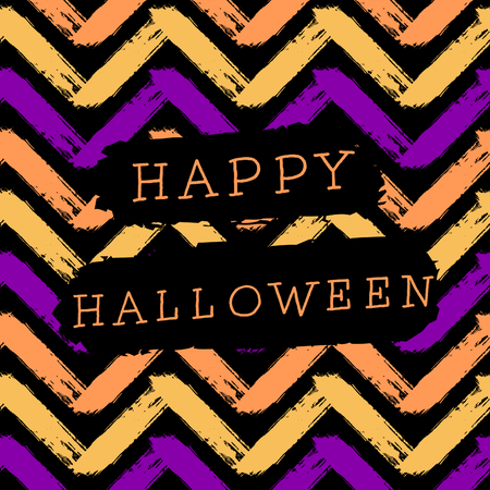Abstract Halloween design with text on colorful chevron pattern background. Poster, brochure or greeting card square template with sample text.