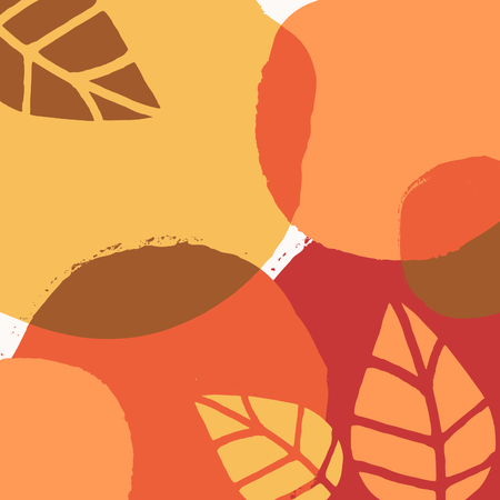 Abstract autumn design with round brush strokes and leaves in yellow, red, brown and orange on white background.