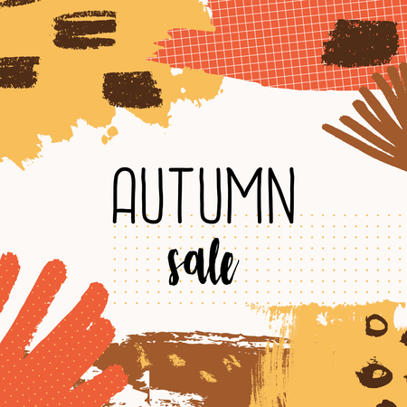 autumn background: Abstract autumn sale design with colorful brush strokes in yellow, red, brown and orange on white background. Modern and creative poster, brochure, greeting card square template.