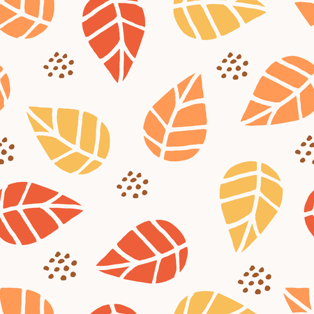 layout: Seamless repeat pattern with leaves and dots in red, orange and yellow on white background. Nature inspired fabric, gift wrap, greeting card design.
