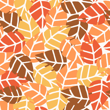 Seamless repeat pattern with leaves in red, orange, brown and yellow on white background. Nature inspired fabric, gift wrap, greeting card design. Illustration