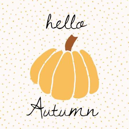 yellow: Greeting card with pumpking and text Hello Autumn on dots pattern background. Cute and modern wall art, greeting card, brochure template design.
